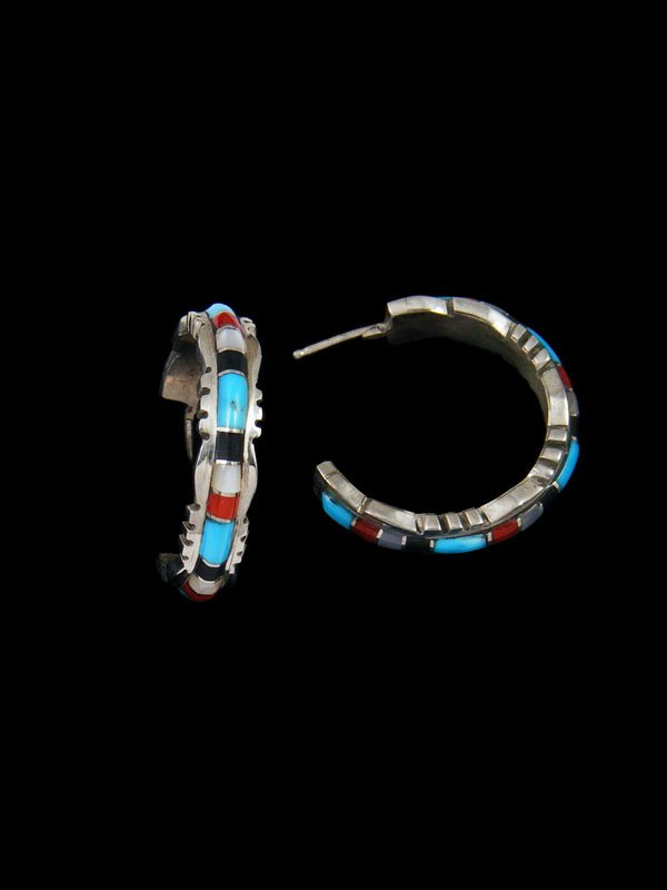 Zuni Turquoise and Coral Inlay Half Hoop Earrings