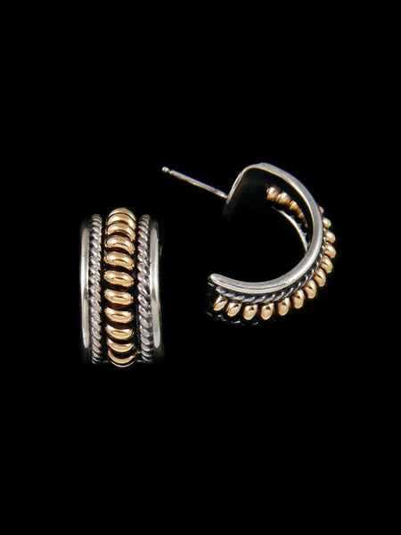 Navajo Gold and Sterling Silver Half Hoop Post Earrings