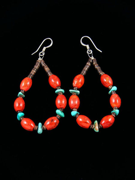 Navajo Apple Coral and Turquoise Beaded Dangle Earrings