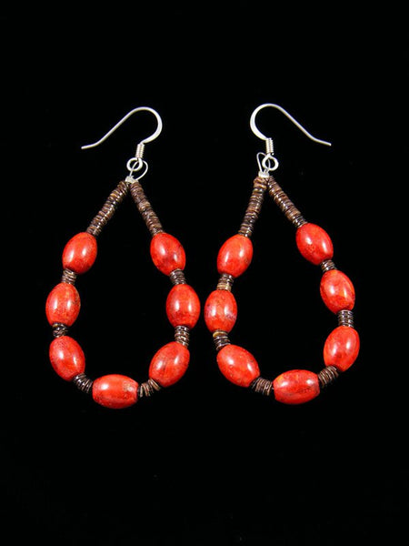 Navajo Apple Coral and Heishi Beaded Dangle Earrings