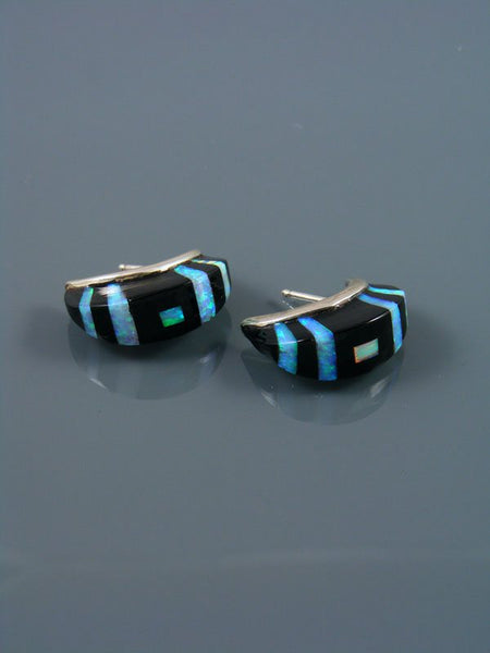 Onyx and Opalite Zuni Inlay Half Hoop Earrings