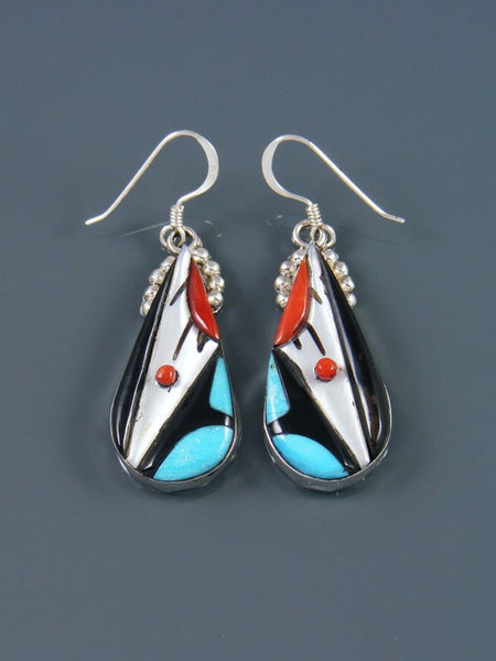 Native American Sterling Silver Zuni Inlay Dangle Earrings