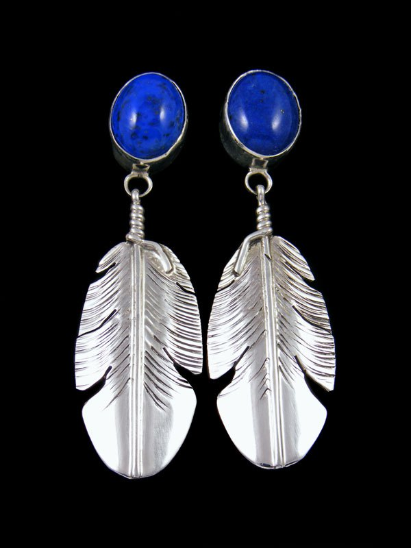 Navajo Blue Lapis Sterling Silver Feather Post Earrings