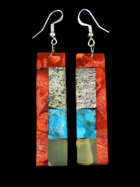Mosaic Turquoise and Apple Coral Santo Domingo Dangle Earrings