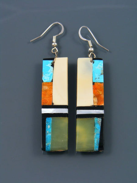 Mosaic Turquoise and Shell Santo Domingo Dangle Earrings
