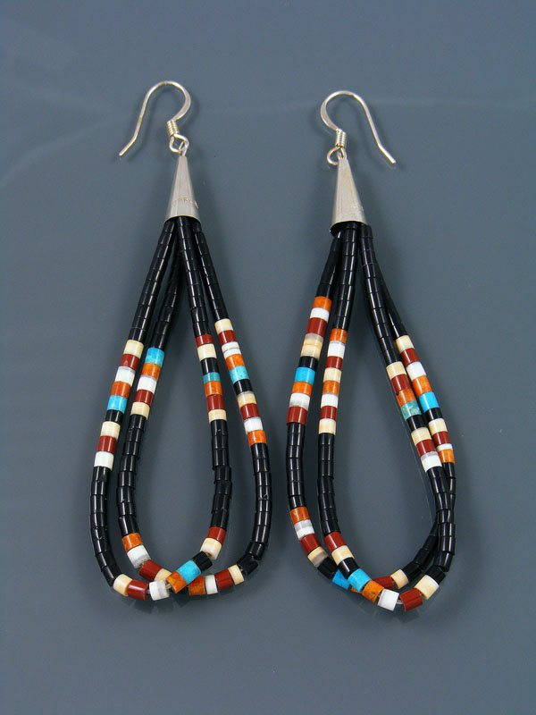 Black Jet and Turquoise and Heishi Dangle Earrings