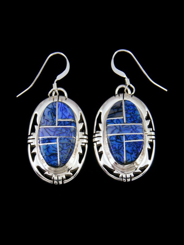 Monarch Opal Inlay Sterling Silver Dangle Earrings