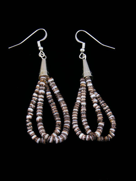 Navajo Shell Heishi Dangle Earrings