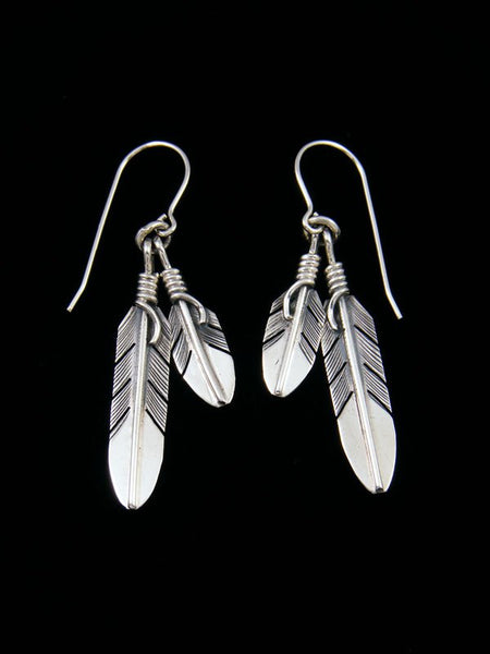 Navajo Sterling Silver Double Feather Earrings