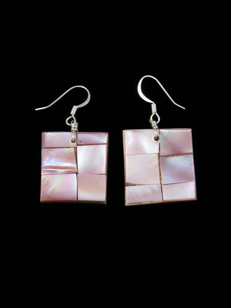 Pink Shell Santo Domingo Mosaic Inlay Earrings
