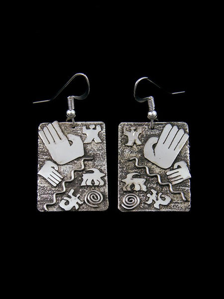 Native American Jewelry Petroglyph Overlay Dangle Earrings