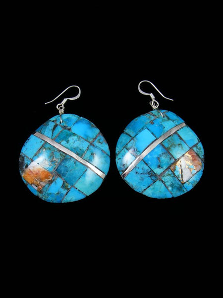Spiny Oyster and Turquoise Santo Domingo Inlay Earrings
