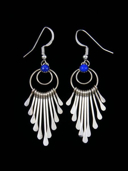 Navajo Sterling Silver Lapis Waterfall Dangle Earrings