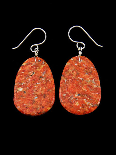 Apple Coral Slab Dangle Earrings