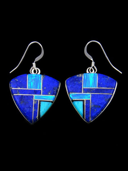Navajo Lapis and Opal Inlay Sterling Silver Dangle Earrings
