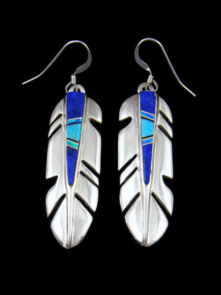 Navajo Lapis and Opal Inlay Sterling Silver Dangle Feather Earrings