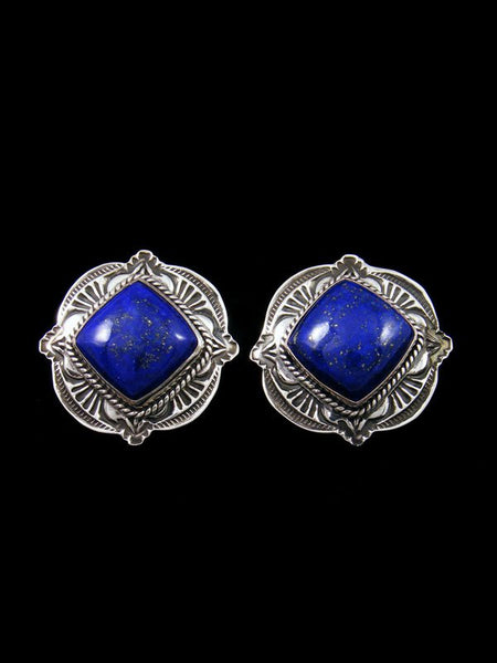 Navajo Blue Lapis Sterling Silver Post Earrings