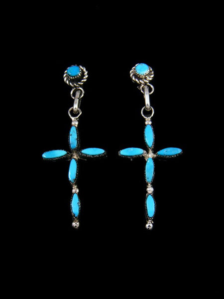 Sterling Silver Turquoise Cross Zuni Post Earrings