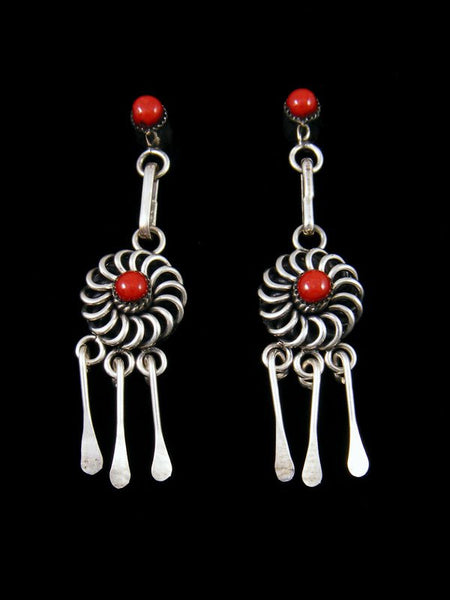 Native American Indian Jewelry Zuni Coral Post Earrings