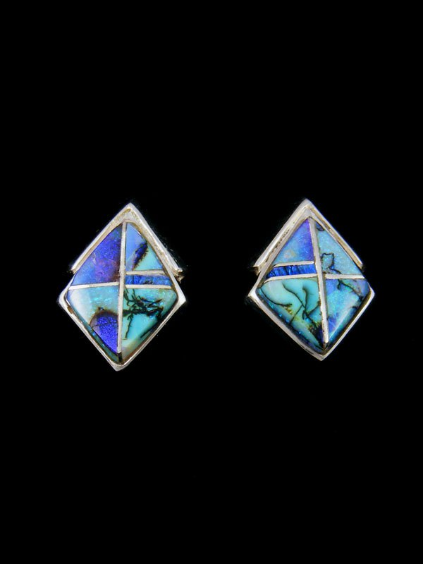 Monarch Opal Inlay Sterling Silver Post Earrings