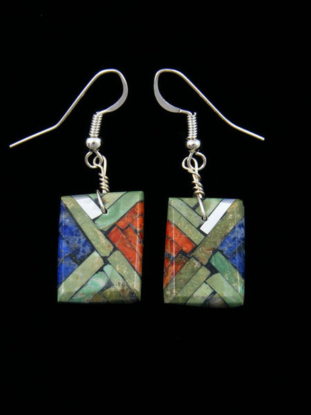 Santo Domingo Turquoise Inlay Mosaic Earrings