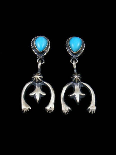 Navajo Turquoise Sterling Silver Naja Post Earrings