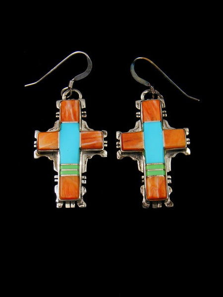 Navajo Turquoise and Spiny Oyster Inlay Sterling Silver Dangle Cross Earrings