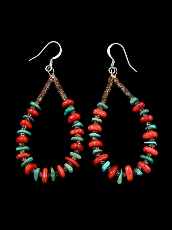Santo Domingo Turquoise and Coral Heishi Bead Dangle Earrings