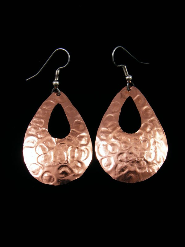 Navajo Hammered Copper Dangle Earrings