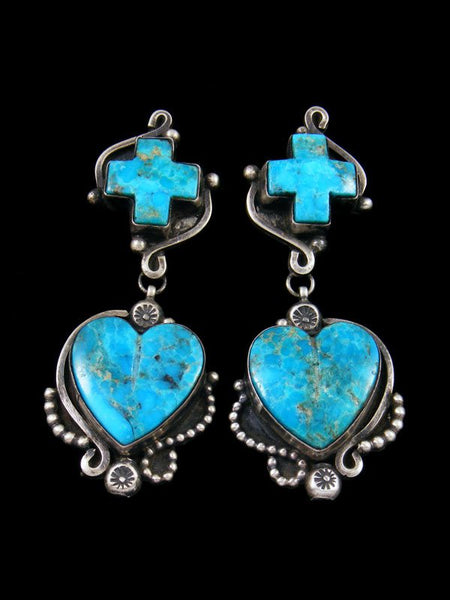 Native American Turquoise Post Heart Earrings