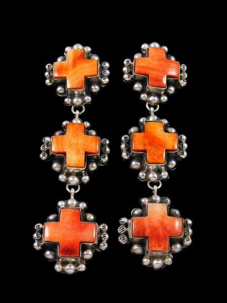 Spiny Oyster Cross Sterling Silver Post Earrings
