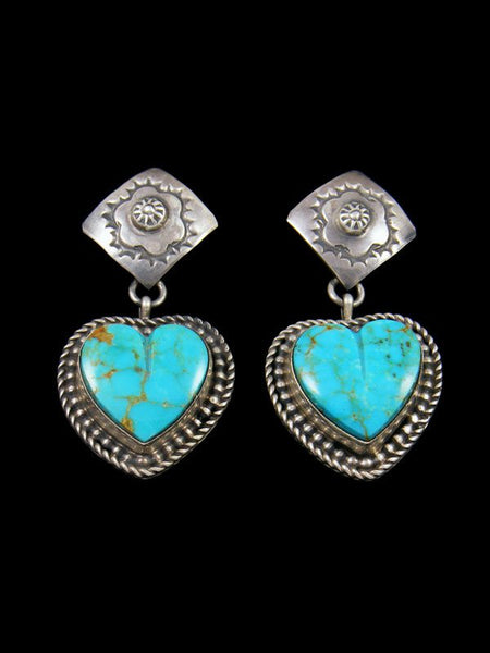 Navajo Sterling Silver Turquoise Post Heart Earrings