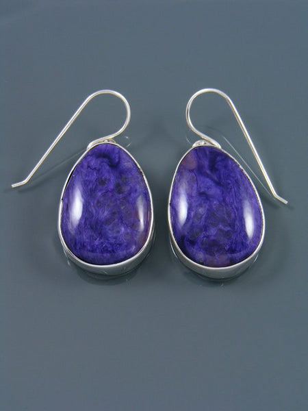 Native American Sterling Silver Charoite Dangle Earrings