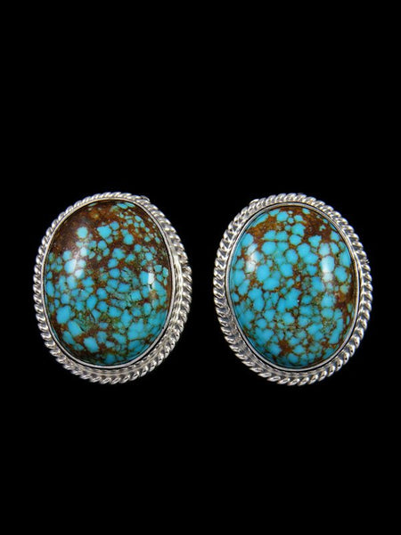 Native American Sterling Silver #8 Turquoise CLIP ON Earrings