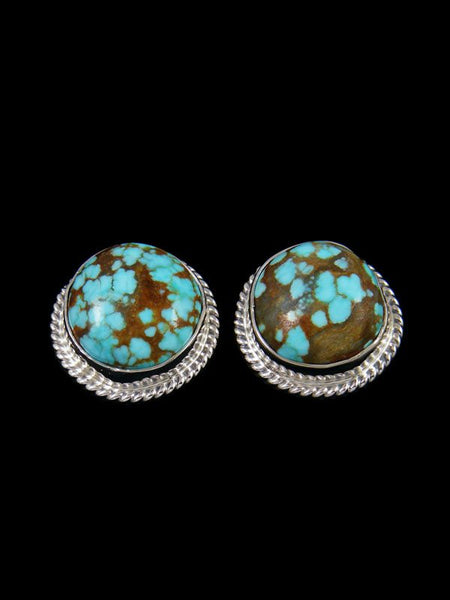 Native American Sterling Silver #8 Turquoise Post Earrings