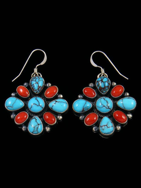 Navajo Egyptian Turquoise and Coral Dangle Earrings