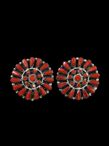 Zuni Red Coral Clip On Earrings