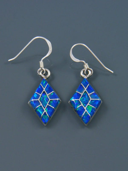 Opalite Zuni Inlay Sterling Silver Dangle Earrings