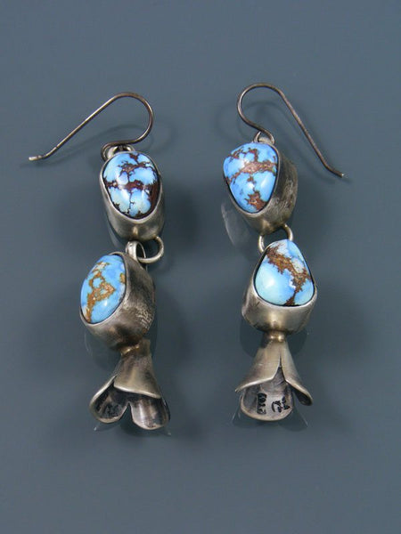 Navajo Turquoise Sterling Silver Blossom Flute Earrings