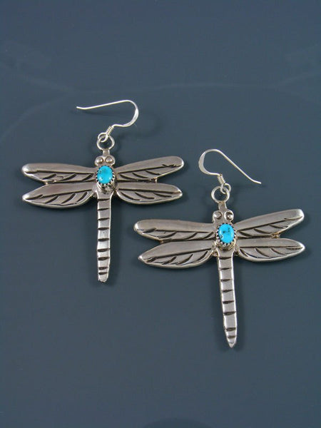 Sterling Silver Turquoise Dragonfly Dangle Earrings