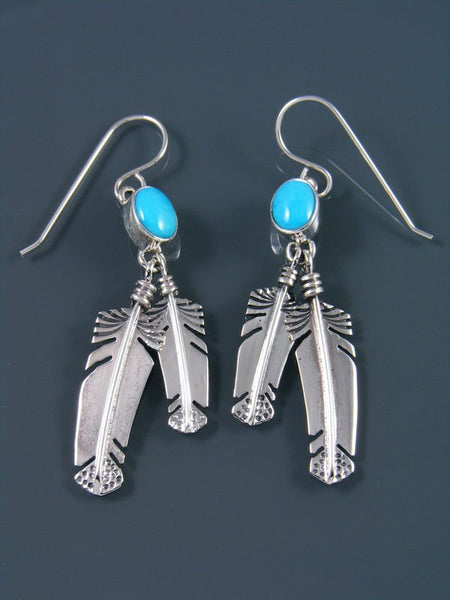 Navajo Sterling Silver Turquoise Feather Earrings