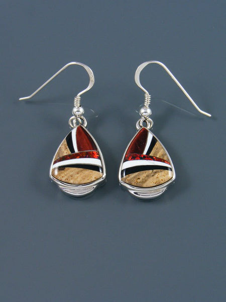 Native American Inlay Jasper and Opalite Earrings