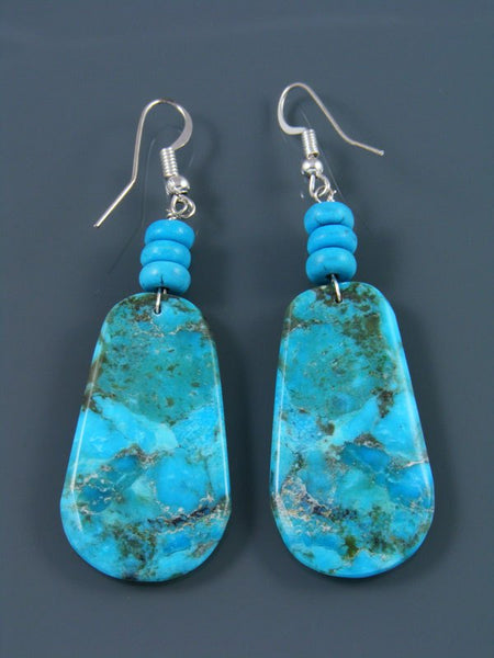 Compressed Turquoise Santo Domingo Dangle Earrings