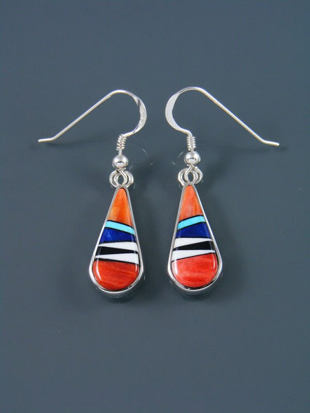 Native American Inlay Spiny Oyster and Turquoise Earrings