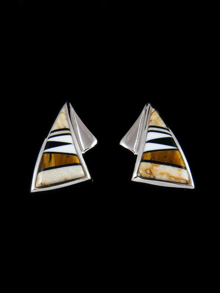 Native American Inlay Jasper and Tiger Eye Post Earrings