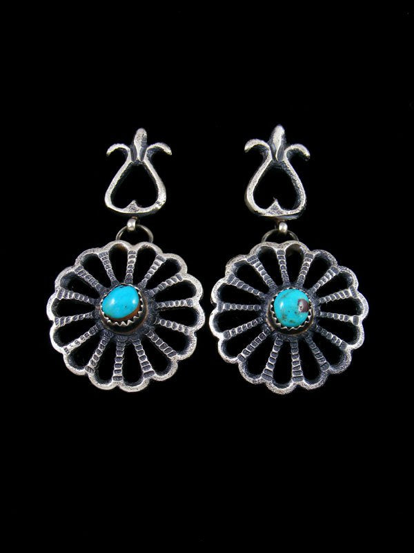 Native American Sandcast Turquoise Flower Earrings