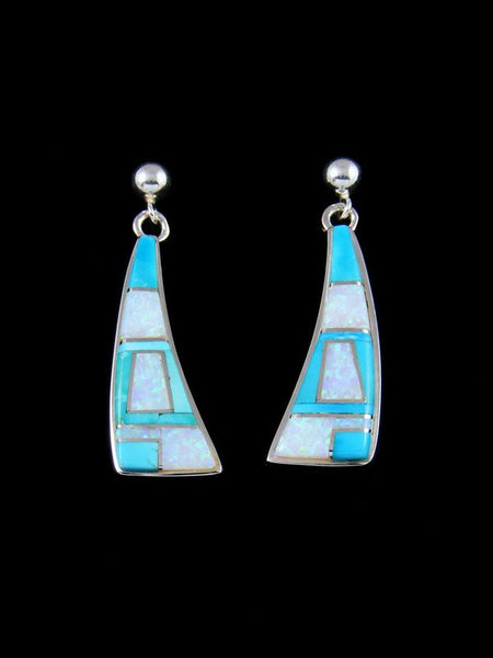 Native American Inlay Opalite and Turquoise Earrings