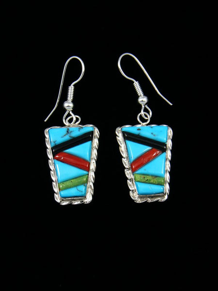 Turquoise Cobblestone Inlay Reversible Dangle Earrings