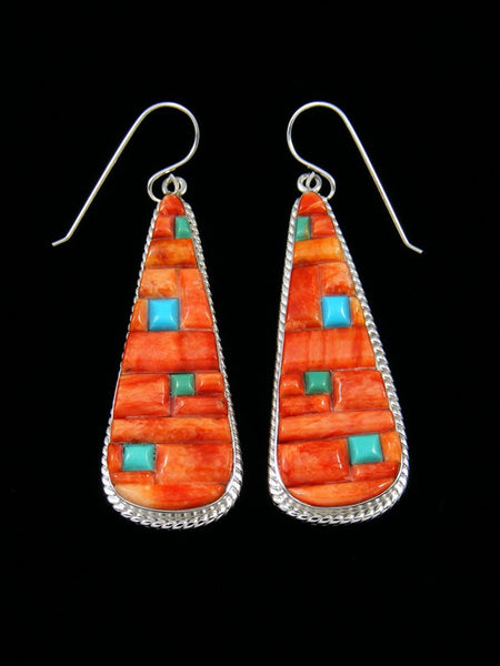 Navajo Sterling Silver Spiny Oyster and Turquoise Dangle Earrings