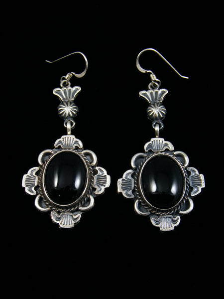 Navajo Sterling Silver Onyx Hook Earrings